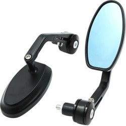 2pcs Black Metal Motorcycle Handle Bar End Rearview Side Mirror