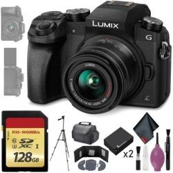 Panasonic Lumix DMC-G7 Mirrorless Micro Four Thirds Digital Camera w/ 14-42mm Lens (Black) - 128GB - Memory Card Wallet - Reader - Battery x2 - 72'