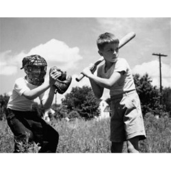 Posterazzi SAL2559940 Two Boys Playing Baseball in Field Poster Print - 18 x 24 in.
