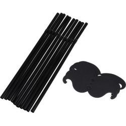 10/set Funny Disposable Drinking Straws Birthday Party Decor Black Mustache