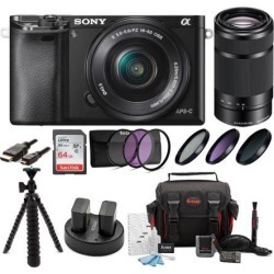 Sony Alpha a6000 Mirrorless Digital Camera with 16-50mm and 55-210mm Lens Bundle