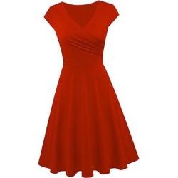 Women's Swing Casual High Waist A Line Cap Sleeve V Neck Dress Red XL