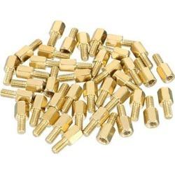 40pcs M3 6+6mm Female Male Thread Brass Hex Standoff Spacer Screws PCB Pillar