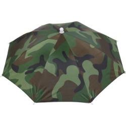 Unique Bargains 53cm Diameter Green Camouflage Cover Rain Sun Umbrella Hat for Fishing