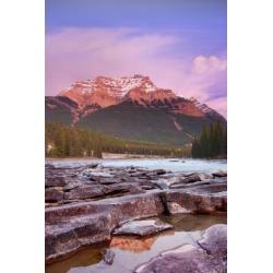 Posterazzi DPI1779442 Mount Kerkeslin Athabasca Falls Jasper National Park Jasper Alberta Canada Poster Print by Carson Ganci, 11 x 17