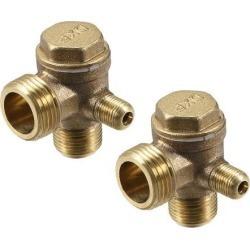 Air Compressor Check Valve 90 Degree Right Male Threaded Chamfer Brass Connector 1/8' x 3/8' x 1/2' 2Pcs