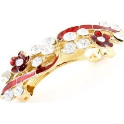 Unique Bargains Ladies Wedding Party New Flower Rhinestone French Hair Clip Red