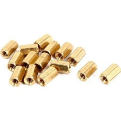 Unique Bargains M4x10mm Brass Hex Hexagonal Female Threaded Standoff Spacer Pillars 15pcs