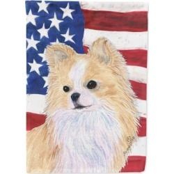 USA American Flag with Chihuahua Flag Canvas House Size