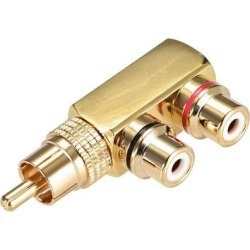 RCA Male to 2 RCA Female Connector Stereo Audio Video Splitter Adapter Coupler Gold-plated Brass