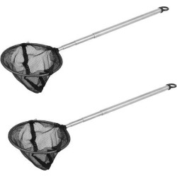Unique Bargains 2 Pcs 8.6 x 3 4 Sections Telescopic Handle Landing Net Fishing Fish Angler Mesh Silver Tone Black
