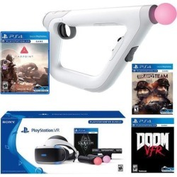 PlayStation VR FPS Deluxe Bundle (5 Items): PlayStation VR Skyrim Bundle, PSVR Doom VFR Game, PSVR Bravo Team Game, PSVR Farpoint Game and PSVR Aim.