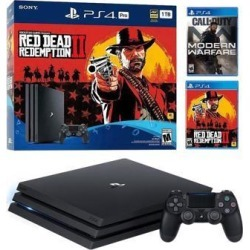 PlayStation 4 Pro 1TB Red Dead Redemption 2 Jet Black 4K HDR Gaming Console Bundle With Call of Duty: Modern Warfare - 2019 New PS4 Game!