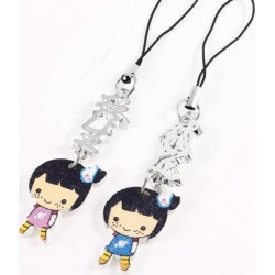 Unique Bargains Lovers Girl Shaped Pendant Mobile Cell Phone Strap 2 Pcs
