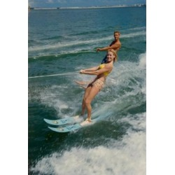 Posterazzi SAL3493402519 Young Couple Waterskiing in the Sea Poster Print - 18 x 24 in.