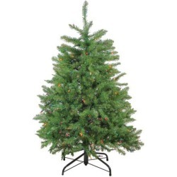 4' Pre-Lit Northern Pine Full Artificial Christmas Tree - Multicolor Lights
