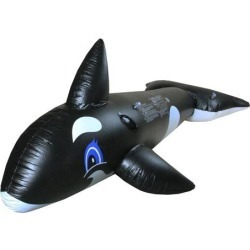 Inflatable Black and White Whale Rider Swimming Pool Float Toy, 75-Inch