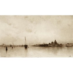 Evening, (Venice) By I Will, Pseudonym Of Marie Joseph L on Clavel 1853-1923. French Artist. Poster Print (20 x 11)