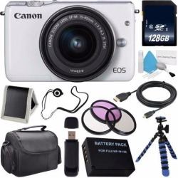 Canon EOS M3 Mark III 24.2 Mp Mirrorless Camera w/ 15-45 STm Lens (International Model No Warranty) (White) + LP-E17 Replacement Lithium Ion Battery +