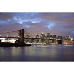 Posterazzi DPI1891995 Brooklyn Bridge & Lower Manhattan At Dusk Poster Print, 19 x 12