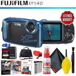 FUJIFILM FinePix XP140 Digital Camera (Sky Blue) + Memory Card Kit + Carrying Case + Floating Strap + Cleaning Kit + Editing Software + Extended