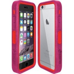 Amzer Magenta on Red Embedded Tempered Glass Rugged Case With Holster for Silver/Gold Apple iPhone 6 Plus / 6S Plus