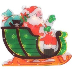 17' Lighted Holographic Santa in Sleigh Christmas Window Silhouette Decoration
