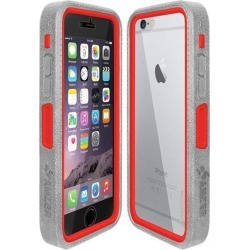 Amzer Grey on Red Embedded Tempered Glass Rugged Case With Holster for Silver/Gold Apple iPhone 6 Plus / 6S Plus