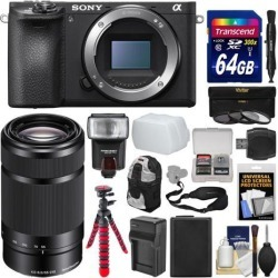 Sony Alpha A6500 4K Wi-Fi Digital Camera Body with 55-210mm Lens + 64GB Card + Backpack + Flash + Battery & Charger + Tripod + Kit