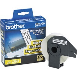 Brother DK1203 P-touch Laminated Tape, 0.66 in x 3.4 in (17 mm x 87.1 mm) File Folder Labels (300 White Paper Labels)
