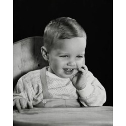 Posterazzi SAL2559692C Close-Up of a Baby Sitting in a High Chair & Smiling Poster Print - 18 x 24 in.