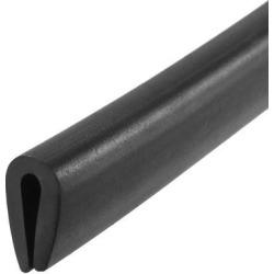 "Edge Trim U Seal Black PVC Plastic U Channel Edge Protector Fits 1/16"" - 3/32"" Edge 20 Feet Length"