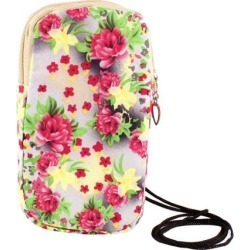 Unique Bargains Watermelon Red Peony Pattern Elastic Wrist Band Mobile Phone Bag Pouch