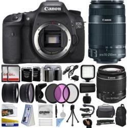 Canon EOS 7D Mark 2 DSLR Digital Camera + 18-55mm IS II + 55-250mm IS STM Lens + 128GB Memory + 2 Batteries + Charger + LED Video Light + Backpack.