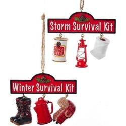 Monoprice Survival Kit Ornaments Set of 2 Christmas Decor, Holiday, lights, Indoor ornaments