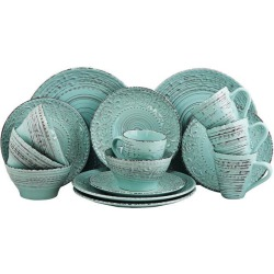 Elama Ocean Breeze 16-Piece Dinnerware Set, Turquoise