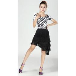 Latin Ballroom Dance Short Sleeve Dance Tops Practice Costume L Zebra-Stripe
