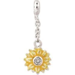 Sterling Silver Yellow Enameled Flower w/CZ 1/2in Dangle Enhancer