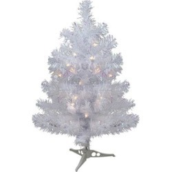2' Pre-lit White Iridescent Pine Artificial Christmas Tree - Clear Lights