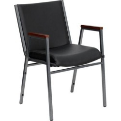 HERCULES Series Heavy Duty Black Vinyl Stack Chair with Arms