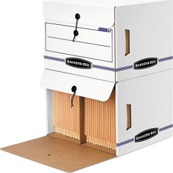 Bankers Box 00061 Side-Tab File Storage Box, Letter, 15-1/4 x 13-1/2 x 10-3/4, White/Blue, 12/Ctn