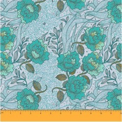 Soimoi 58 Inches Wide Decorative Floral Print Dressmaking Cotton Fabric For Sewing By The Meter 60 GSM - Blue