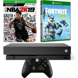 Xbox One X Battle Royale Fortnite and NBA 2K19 Bundle: Fortnite Frostbite Skin, 1000 V-Bucks, NBA 2K19, Xbox One X 1TB 4K HDR Gaming Console - Black