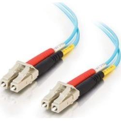 C2G 33048 OM3 Fiber Optic Cable - LC-LC 50/125 10Gb Duplex Multimode PVC Fiber Cable, Aqua (16.4 Feet, 5 Meters)