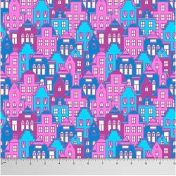Soimoi Architectural Printed Dressmaking 60 GSM Cotton Fabric For Sewing By The Meter 58 Inches Wide - Pink