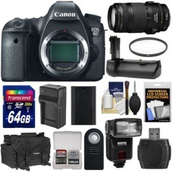 Canon EOS 6D Digital SLR Camera Body with EF 70-300mm IS USM Lens + 64GB Card + Battery + Charger + Case + Flash + Grip + Kit