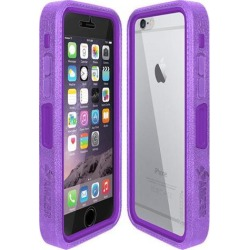 Amzer Purple on Purple Embedded Tempered Glass Rugged Case With Holster for Silver/Gold Apple iPhone 6 Plus / 6S Plus