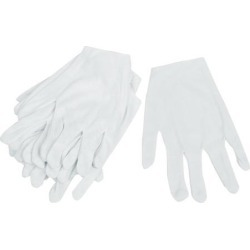 6 Pairs Disposable Stretch Full Finger Working Gloves White for Worker