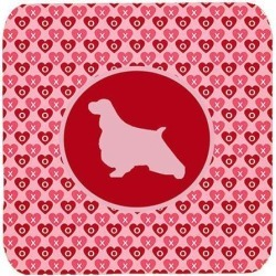 Carolines Treasures SDK1029-A-FC English Springer Spaniel Valentine Hearts Foam Coasters - Set 4, 3.5 x 3.5 In.