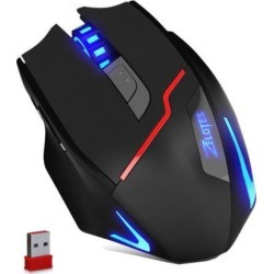 Zelotes Rechargeable Wireless Mouse with USB Receiver,600/1000/1600/2000/2400/3200DPI,7 Buttons 2.4GHz Portable Mobile Computer Wired Gaming Mice.